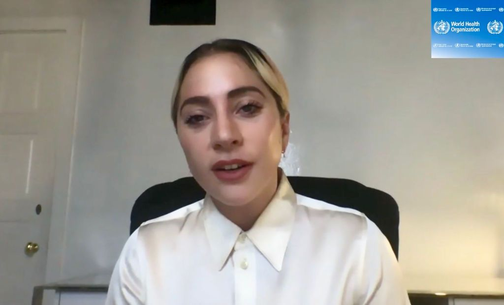 A TV grab from the World Health Organization (WHO) website shows US superstar Stefani Joanne Angelina Germanotta aka Lady Gaga attending a WHO virtual news briefing on the COVID-19 (novel coronavirus) from the WHO headquarters, on April 17, 2020 in Geneva.