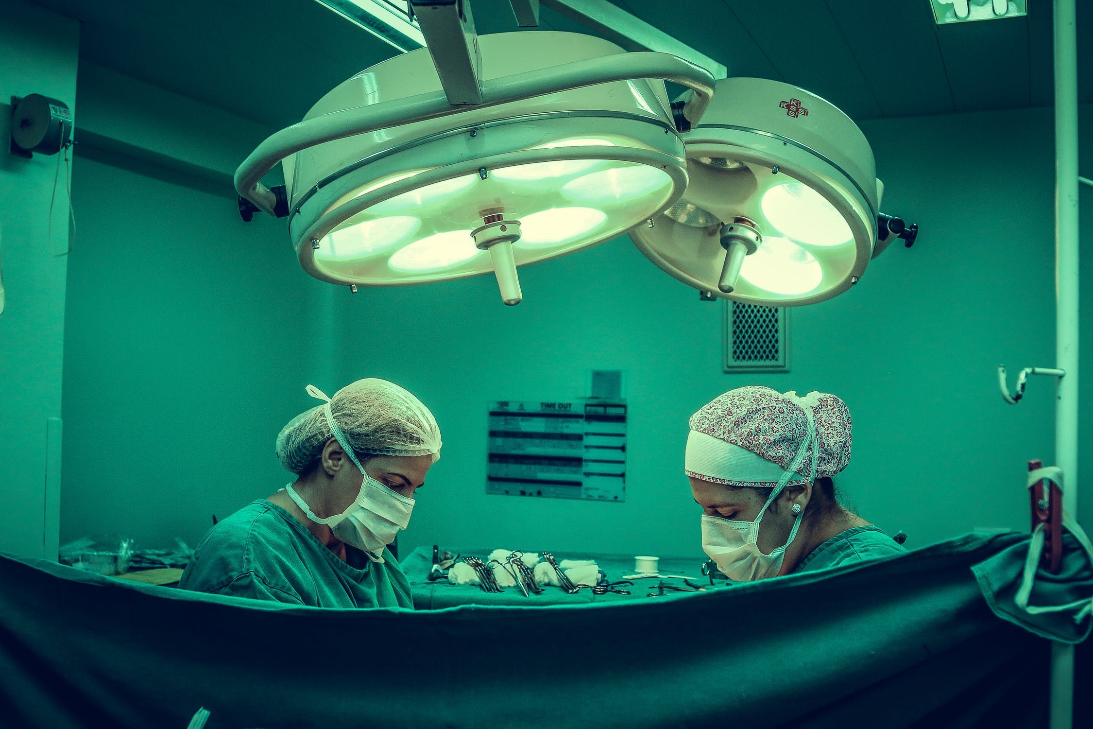 Two female surgeons about to go to work