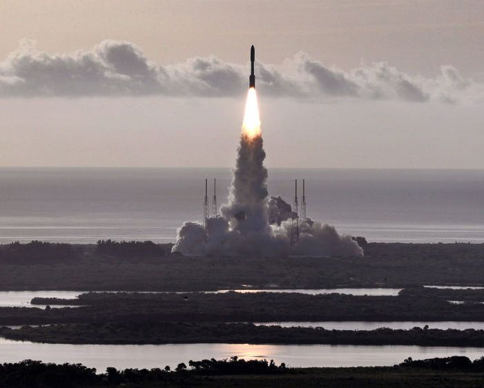 The United Launch Alliance Atlas 5 rocket carrying the Mars2020 rover lifts off from Launch Complex 41 at Cape Canaveral Air Force Station, Fla