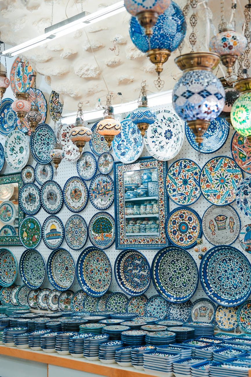 A large collection of blue porcelain dishes