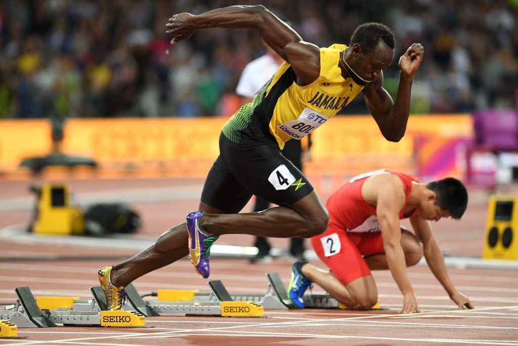 Jamaica's Usain Bolt prepares for the final of the men's 100m athletics event at the 2017 IAAF World Championships at the London Stadium