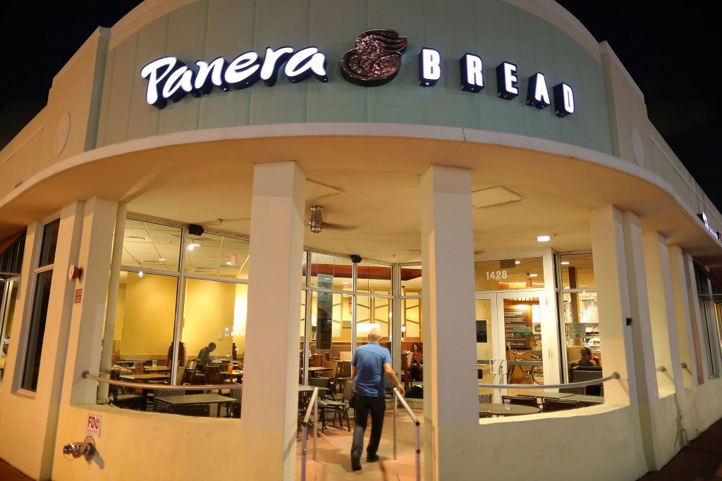 A Panera Bread restaurant is seen on the day it is announced that the Panera Bread company is acquiring sandwich rival Au Bon Pain
