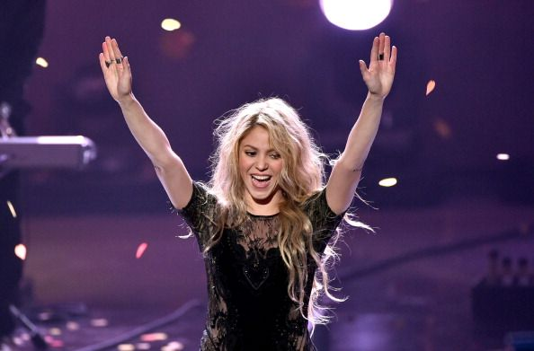 Shakira performing during the 2014 iheartradio music awards