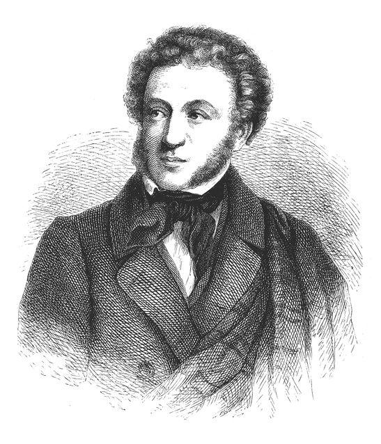 Portrait of Alexander Pushkin black white