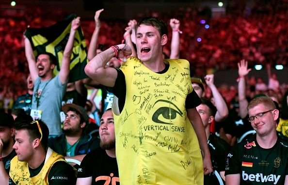 Fans cheering at Counter-Strike global offensive tournament in germany