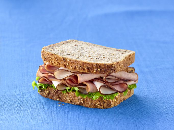 Sandwich over blue background