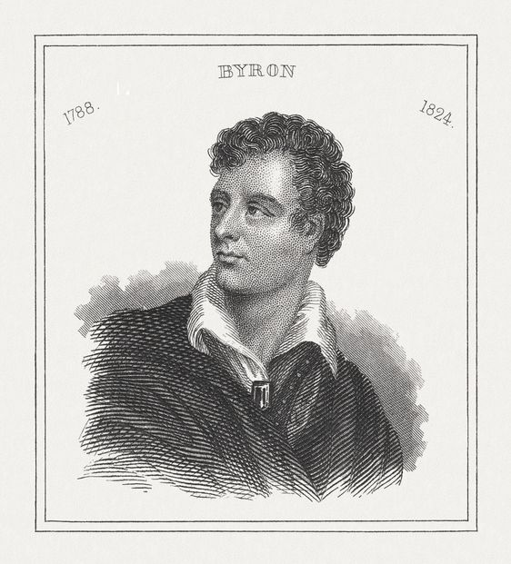 portrait of lord byron black white