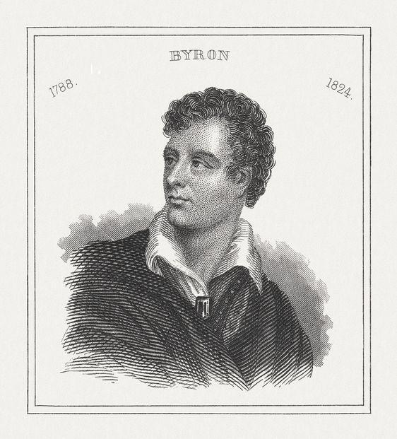 portrait of lord byron black white