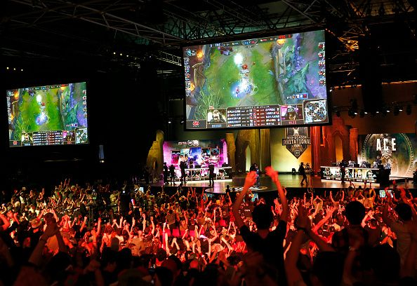 fans watch esports league of legends tournament in paris