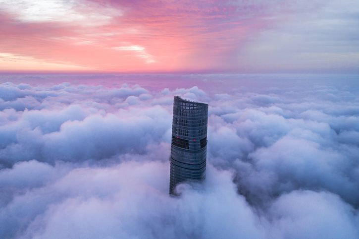 Shanghai tower in the clouds