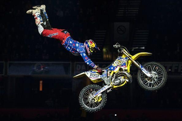 Travis Pastrana pulling a stunt on a motorbike