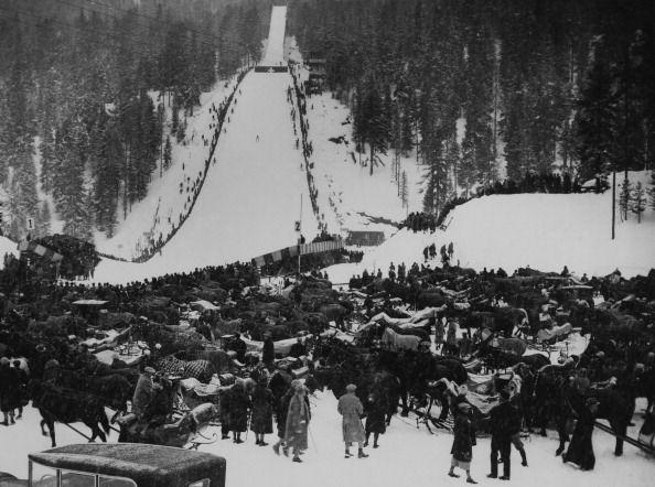 Ski jumping contest at st moritz in switzerland