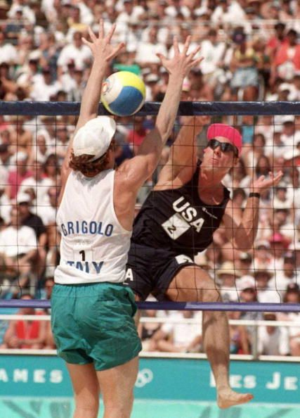Karch Kiraly spikes a volleyball in the olympic games