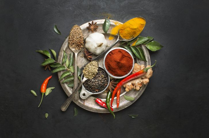 overhead view of spices