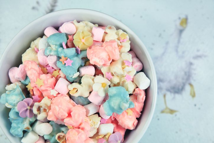 BOWL OF COLORFUL MASRHMALLOWS IN A MYRIAD OF SHAPES