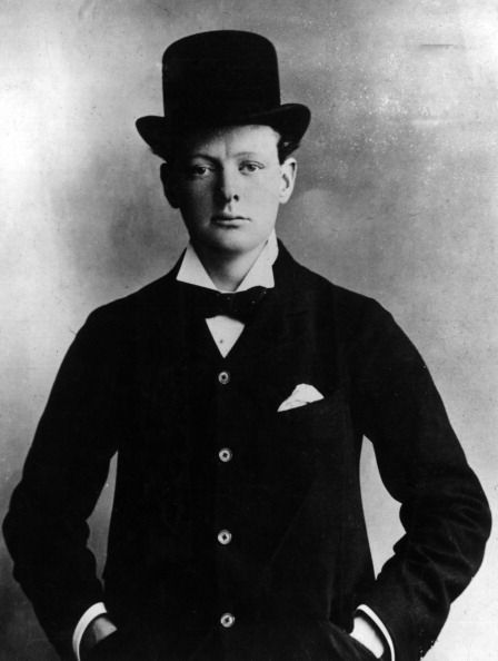 a young winston churchill wearing a tophat