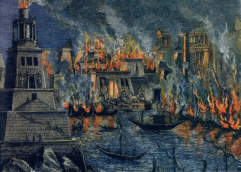 The great library of alexandria on fire