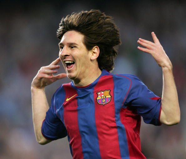 Lionerl Messi celebrating a goal in 2005