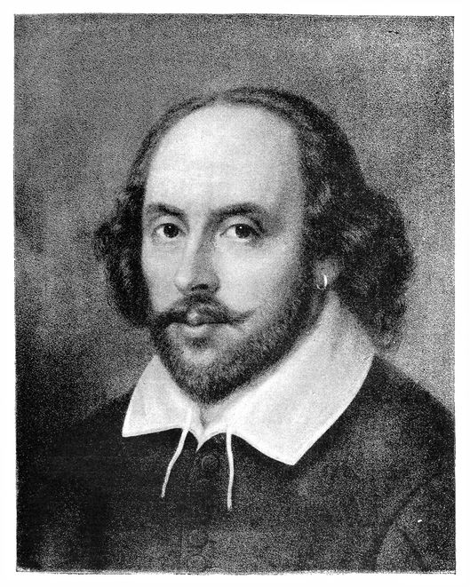 black and white portrait of william shakespeare