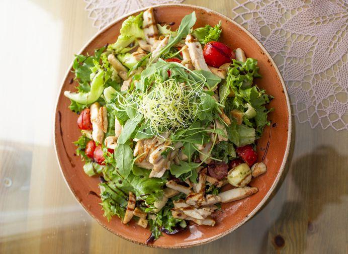 crispy chicken breast salad