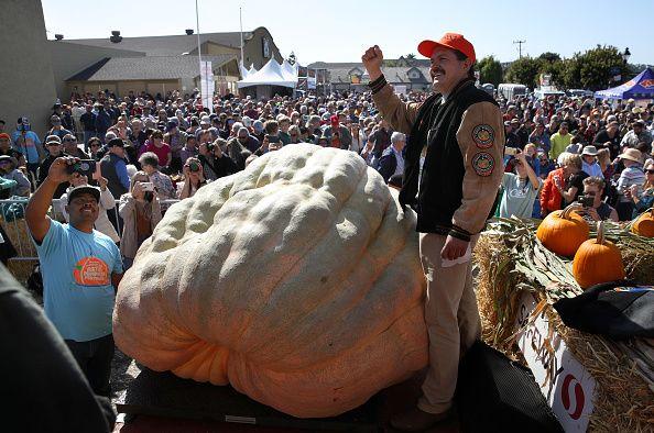 leonardo urena fists pumps next to his record breaking pumpkin