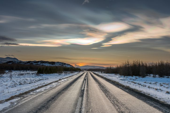 Stratospheric clouds over an arctic road