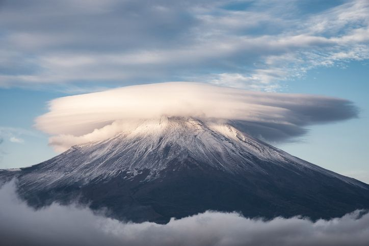 Lenticular clouds on top of mount Fuji