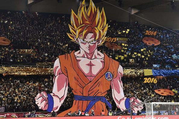 tifo of goku held up during a football game