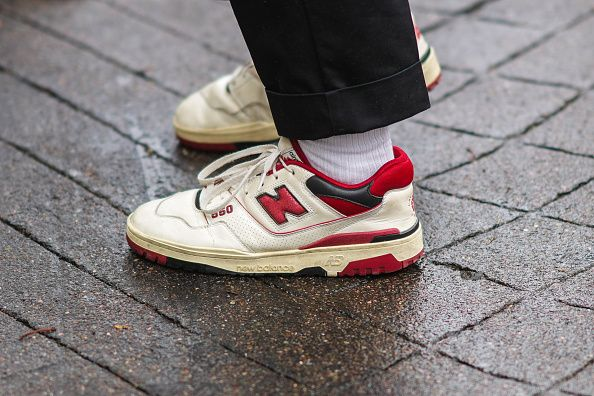 White and Red New Balance sneakers