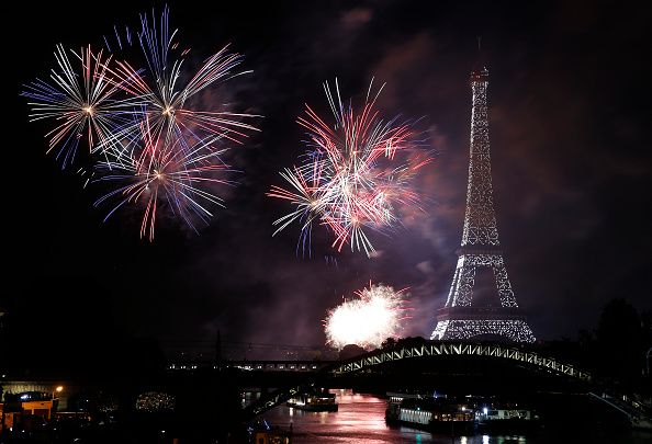 Bastille day fireworks above the Eiffel Tower