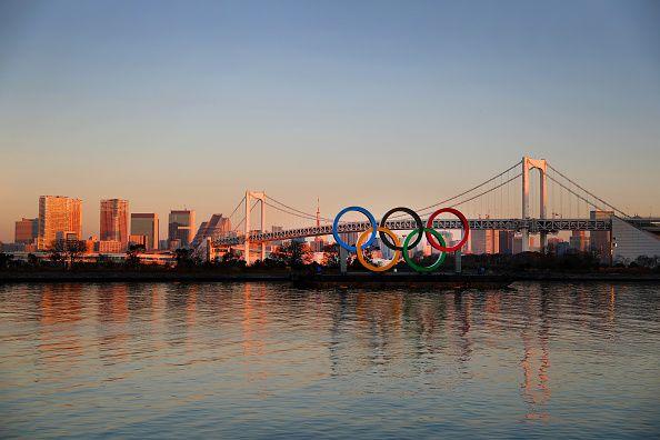 Olympic games under tokyo bridge