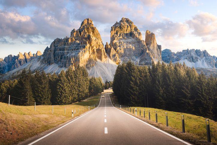 mountainous road in the dolomites