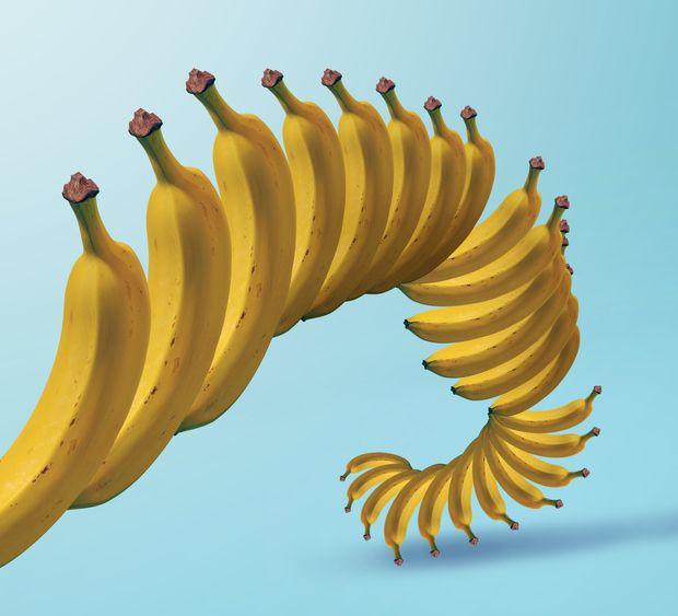 bananas spiraling down