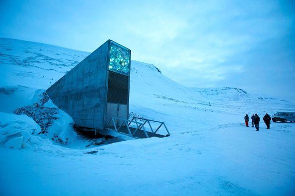 norwegian seed vault in the snow